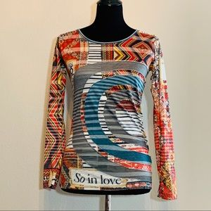 Desigual Art to Wear long sleeve graphic top - M